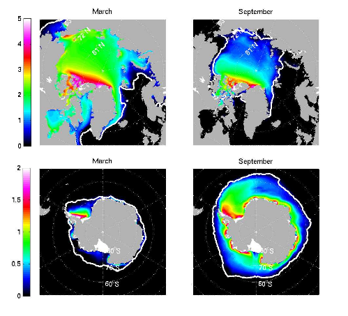Figure 1. Arctic and Antarctic results from an eddy-permitting, MITgcm, global ocean and sea-ice simulation: Sea ice thickness distribution (color, in meters) averaged over the years 1992-2002. The ice-edge (estimated as the 15% isoline of ice concentration) retrieved from passive microwave satellite data is shown as a white contour for comparison. The top row shows the results for the Arctic Ocean and the bottom row for the Antarctic Oceans; the left column shows distributions for March and the right column for September.