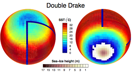 Figure 1. With the northern pole in view to the left, the southern pole to the right, sea surface temperature, and sea-ice height from the Double Drake experiment.