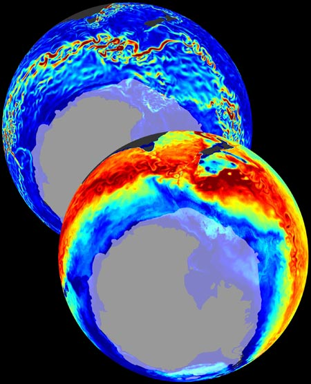 In and out: Driven by winds, the Southern Ocean's currents (blue globe) transport CO2 (red) northward. Credit: T. Ito et al., Nature 463 (2010)