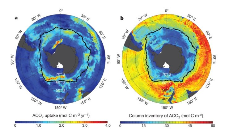 Figure 2:(a) The 2-yr mean of ACO2 uptake rates evaluated between January 2005 and December 2006; (b) the column inventory of ACO2 (storage) determined from a 5-d mean in December 2006. The black solid line represents the position of the Antarctic Polar Front calculated from satellite observations of sea surface temperature.