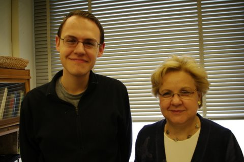 Roman Kowch is an undergraduate major in EAPS (left) with Senior Lecturer Lodovica Illari (right).
