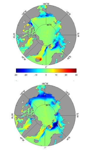 Figure 4b: Change in sea ice cover percentage between 2005 (top) and 2007 (bottom)