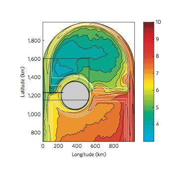Mean sea surface temperature and bottom topography - source: Vaage et al. (2011)