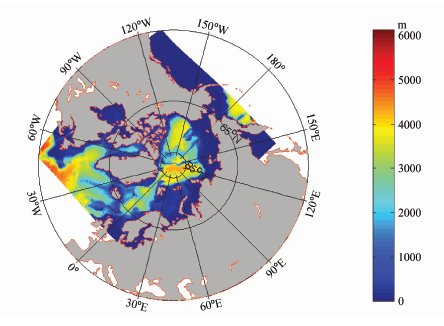 Bathymetry and boundaries of the Arctic domain in the model - source Yang et al., 2011.