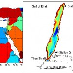 (left) The area of study indicated by the inset, (right) with the gulf bathymetry also shown. Also indicated are stations A and G and the Straits of Tiran - source: Biton et al. (2011)