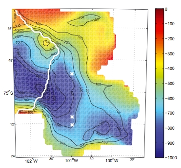 Bedrock bathymetry (m) in color and water column thickness (contours, 100 m intervals) of the (1/32)◦ (900 ± 30 m) horizontal resolution model. The white contour indicates the ice edge, the white crosses the position of three hypothetical drilling sites - source: Heimbach and Losch, 2012