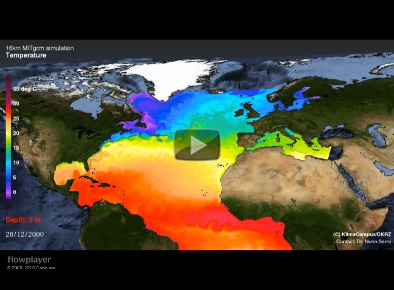 North Atlantic Temperature Evolution Video