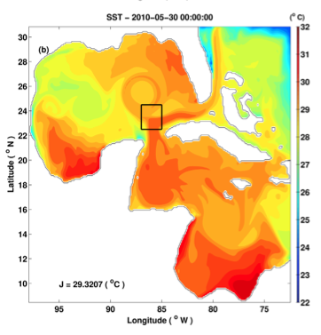 """(MITgcm) Model SST on the """"target day"""" for the loop current eddy separation adjoint experiment (from Gopalakrishnan et al., 2013b)"""
