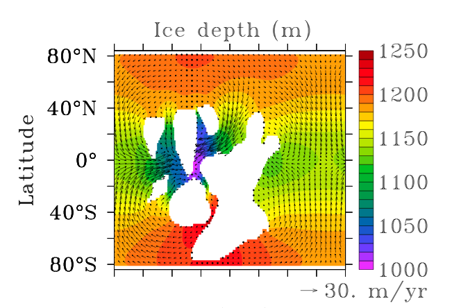 Results of the 3D standard run: Ice thickness and ice velocity - Ashkenazy et al. 2014