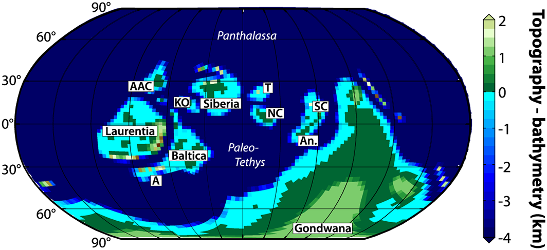 Late Ordovician-early Silurian continental reconstruction interpolated on the MITgcm cubed sphere grid: AAC: Arctic Alaska-Chukotka, KO: Kolyma-Omolon, A: Avalonia, T: Tarim, NC: North China, SC: South China, An: Annamia. Ocean names are in italics - image courtesy A. Pohl