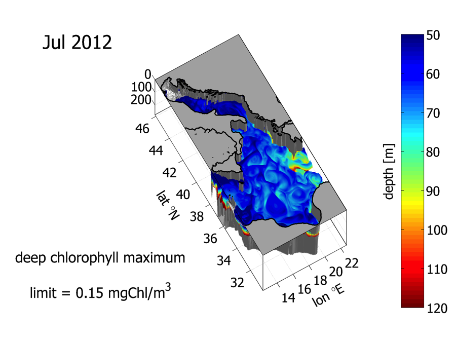3D rendering of the Deep Chlorophyll Maximum observed in the coupled model – Image courtesy - Gianpiero Cossarini