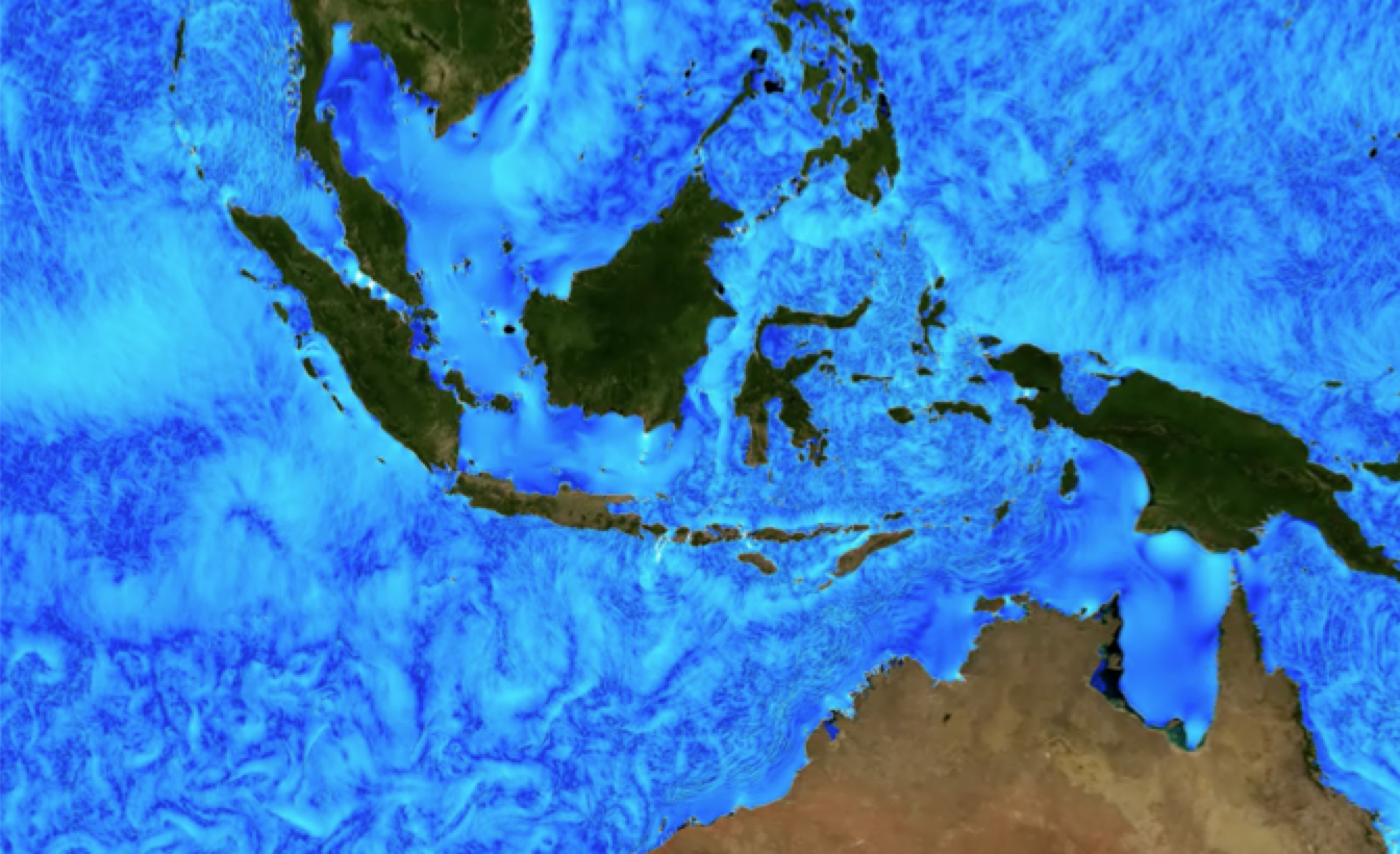 The Indonesian Through Flow (ITF) provides a low-latitude pathway for warm, fresh water to move from the Pacific to the Indian Ocean, in a key component of the ocean's global heat conveyor belt - MITgcm
